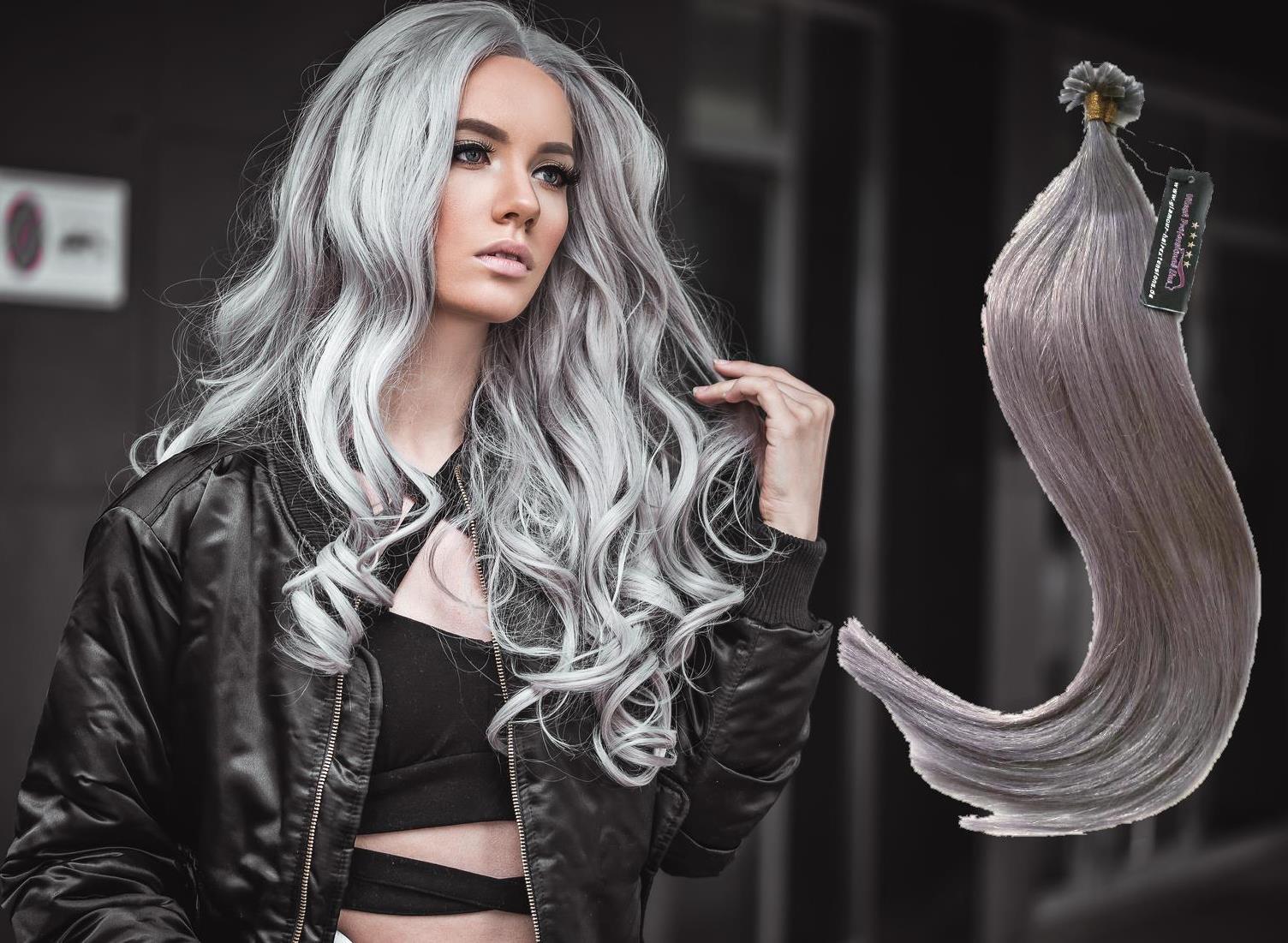 100 human hair remy echthaar extensions haarverl ngerung keratin bonding grey ebay. Black Bedroom Furniture Sets. Home Design Ideas
