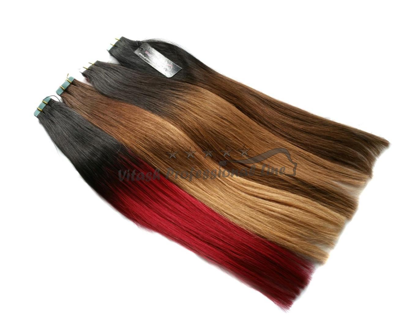 ombre human hair tape in extensions skin weft hair extension length 50 cm vitash ebay. Black Bedroom Furniture Sets. Home Design Ideas