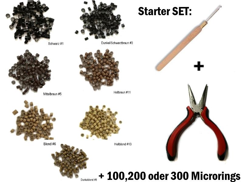 starter set microrings 3mm mit silikon echthaar extensions. Black Bedroom Furniture Sets. Home Design Ideas